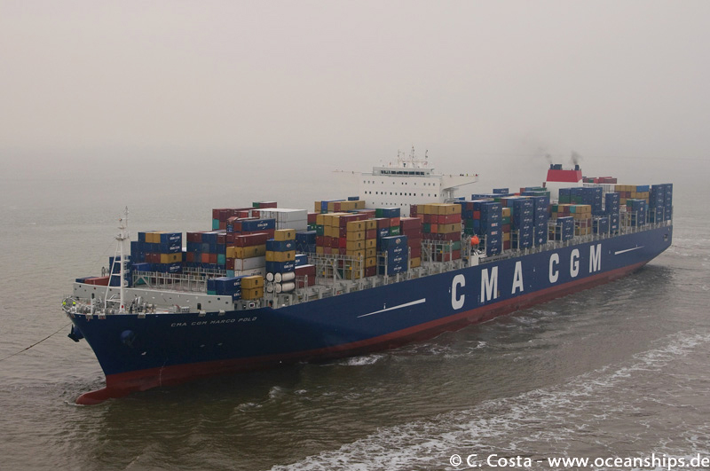 The CMA CGM MARCO POLO is serving in CMA CGMs FAL1 service connecting the Far East with Northern Europe.
