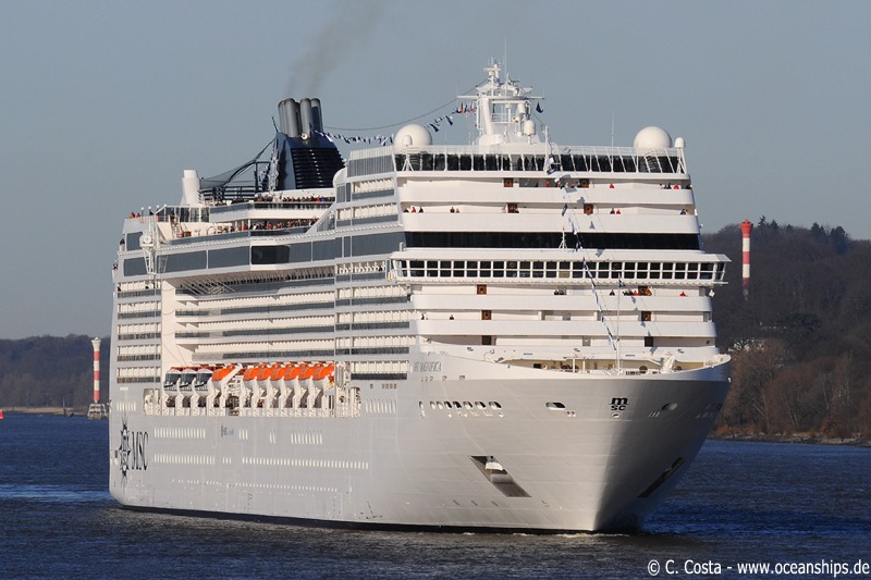 MSC Cruises latest newbuilding MSC Magnifica is arriving on March 05th, 2010 in Hamburg. The christening ceremony will be held on March 06th, 2010 at Hamburg's St. Pauli Landungsbrücken. Godmother of the vessel will be Sophia Loren.