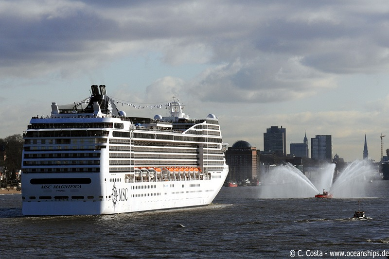MSC Magnifica proceeds towards the city of Hamburg where the christening ceremony is scheduled to be.
